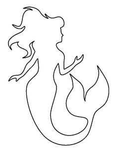 Mermaid Pattern Use the printable outline for crafting, creating stencils, scrapb - Keramik Malvorlagen - amazing craft Mermaid Outline, Mermaid Room, Mermaid Quilt, Mermaid Mermaid, Mermaid Crafts, Beach Crafts, Applique Patterns, Mosaic Patterns, Applique Templates