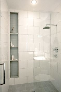 Large White Wall Tiles In Shower And Small White Mosaic In Cubby Holes Part 78