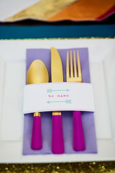 paint-dipped flatware, photo by Izzy Hudgins http://ruffledblog.com/mod-valentines-day-wedding-ideas #weddingideas #reception