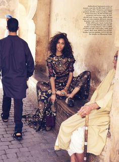 Cindy Bruna poses on the streets of Marrakech for Elle US September 2015 by David Bellemere [editorial]