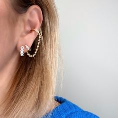 Happy Blue Monday everyone Daria huggie 6.5mm Gala huggie Serena ear cuff attached to the Gala huggie Tap to shop or #linkinbio #GAjewelry #GAEarStories #EarStories #JewelryStories
