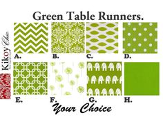 "Green Table Runner-Modern Green Table Cloth-Green and White  Table Cloth- 12"" x 72""- Green Chain Table Runner on Etsy, $15.00"