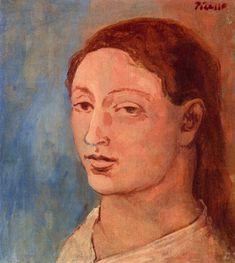 Fernande's Head, Pablo Picasso 1906 Medium: oil,canvas Picasso Rose Period, Picasso Blue, Picasso Art, Picasso Paintings, Georges Braque, Oil Canvas, Canvas Art Prints, Picasso Portraits, Cubist Portraits
