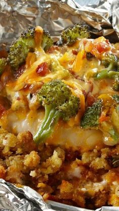 Foil-Pack Chicken & Broccoli Dinner ~ The individual packets are so easy to assemble... And since you just throw the foil away, cleanup is a snap!