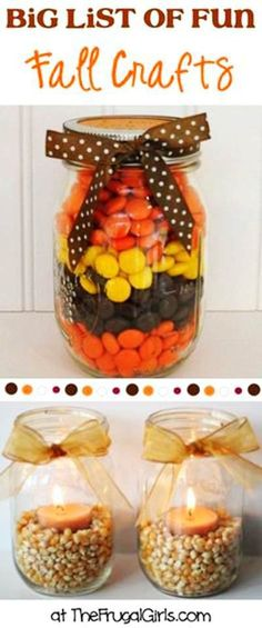 Fun Autumn M&Ms Mason Jar Candle Holder Crafts - 2014 Thanksgiving for Kids  #2014 #Thanksgiving