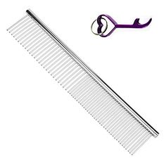BPS Pet Grooming Comb 712 Inch Cheap Dog Comb Silver Metal Comb for Long Hair Dog Persian Cat Stainless Steel Straight Comb for CavapooColliePoodleHavaneseYorkieShih TzuGoldendoodlePurebred Maine Coon Sturdy Comb Gift with Bottle Opener Keychain 19x3cm * Visit the image link more details.