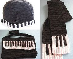 Piano Hat, Scarf & Purse Set | YouCanMakeThis.com