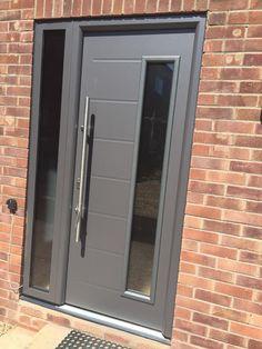 Hormann TPS steel front entrance door in grey www.bradgatedoors.co.uk Front Entrances, House, Windows And Doors, Contemporary Front Doors, Garage Doors, Entrance Doors, Front Door, Upvc Windows, Doors