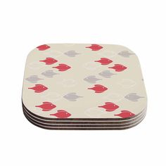 "Gukuuki ""Mayan Fish"" Beige Magenta Coasters (Set of 4)"