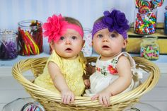 """6 month twins photo shoot """"Candy"""" background"""