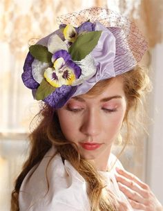 LOUISE GREEN PANSY PILLBOX HAT