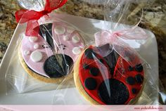 First Birthday Ladybug Cookies by Pink Cake Box in Denville, NJ.  More photos and videos at http://blog.pinkcakebox.com/ladybug-1st-birthday-cookies-2010-11-14.htm