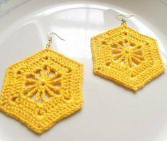 Openwork Hexagon Crochet Earrings by DivaStitchesCrochet on Etsy Crochet Jewelry Patterns, Crochet Earrings Pattern, Crochet Bikini Pattern, Crochet Accessories, Crochet Cord, Crochet Bracelet, Crochet Stitches, Crochet Baby, Crochet Doilies