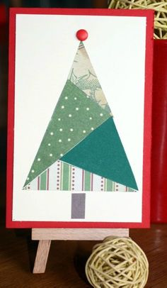 use crazy quilt techniques with paper scraps/old cards Homemade Christmas Cards, Christmas Tree Cards, Christmas Crafts For Gifts, Christmas Sewing, Xmas Cards, Kids Christmas, Handmade Christmas, Simple Christmas, Old Cards
