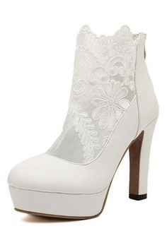 Gauze Lace Paneled Chunky Heel Booties