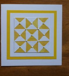 lovely handmade quilt card from Quilted cards by Carolynn ... yellow and white ... graphc look ... pearls on the center point of each small square ...