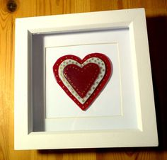 Fused Glass Heart Framed Layered Heart with Gold by MYHEARTOFGLASS
