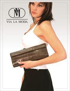 Via La Moda Showroom poster genuine crocodile leather clutch bag