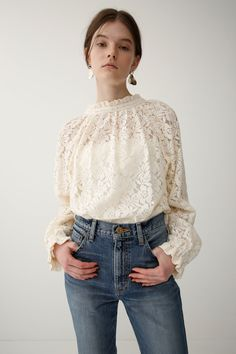 2WAY LACE ブラウス|MOUSSY|SHEL'TTER WEB STORE Pretty Outfits, Pretty Dresses, Fashion Lookbook, Lace Tops, Clothing Patterns, Spring Outfits, Fashion Dresses, Style Inspiration, Womens Fashion