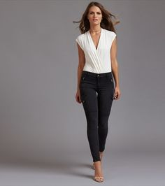 Kate Cargo Skinny Jeans with Zippers in Washout Black Cargo Jeans, Shades Of Black, Super Skinny Jeans, Bodysuit, Chic, Tees, My Style, Casual, Model