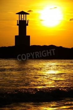 lighthouse in sunset mural