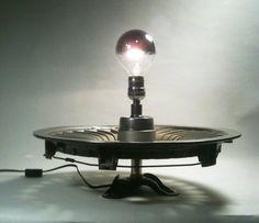 repurposed hubcap lamp