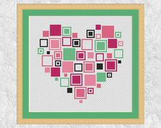 Easy heart cross stitch pattern PDF modern by ClimbingGoatDesigns