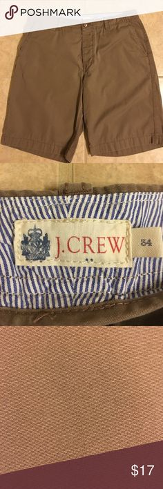 Men's J. Crew Shorts W34 J. Crew Men's Shorts. Waist 34.  Overall great shape. Worn a few times. Brownish color. Smoke free home.  Bundle and save! J. Crew Shorts Flat Front