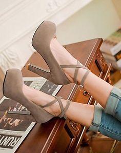 Grey ankle strap heels