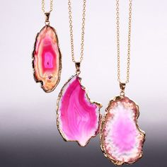 Pink Gemini Sliced Agate Necklace