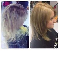 fall change, from platinum blonde to beautiful dark blonde with subtle highlights.