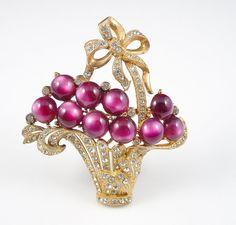 Vintage Basket of Flowers Brooch Purple Lucite Moonglow Rhinestone Pin Book Piece via Etsy