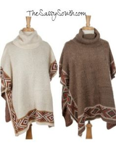 Eyelash Turtleneck Poncho with Aztec Border - Shop away, you sassy thing! TheSassySouth.com (The Sassy South Boutique)