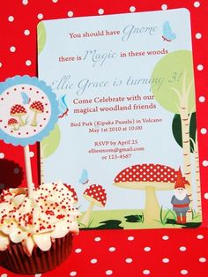 Woodland Magic, Gnomes and Toadstools - EDITABLE Printable Invitation. $12.50, via Etsy. This is the perfect invitation!