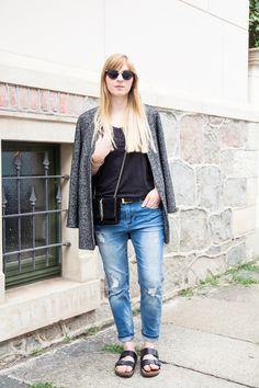 Outfit -  tomboy blazer, boyfriend jeans & birkenstocks