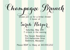 Printable Champagne Brunch Bridal Shower Invitation. $15.00, via Etsy.