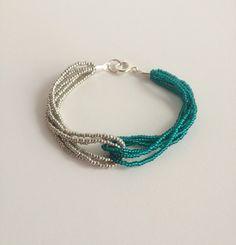 Green bracelet teal bracelet emerald bracelet by StephanieMartinCo, $15.00