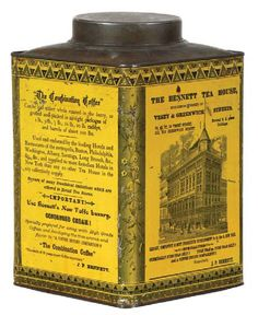 Free antique price guide with prices and descriptions for antique signs, tins, vintage toys, oil and gas items and a wide range of vintage collectables. Coffee Jars, Coffee Tin, Vintage Tins, Vintage Coffee, Light Scattering, Antique Signs, Tea Companies, Coffee Packaging, Price Guide