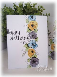 CAS Painted Flowers Handmade card by Lisa Ku. SU Inks with Altenew and stamps CAS Painted Flowers Handmade card by Lisa Ku. SU Inks with Altenew and stamps Clay Stamps, Watercolor Birthday Cards, Watercolor Cards, Watercolour, Handmade Birthday Cards, Happy Birthday Cards, Altenew Cards, Paint Cards, Handmade Stamps
