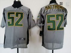 Green Bay Packers #52 matthews grey NFL Lought out grey Jerseys