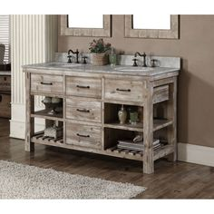 Infurniture Rustic Style 60-inch Double Sink Bathroom Vanity (60 Carrara White Marble Top Vanity, no faucet), Size Double Vanities