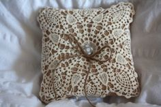 Burlap Ring Bearer Pillow with lace doily by BurlapandButter, $17.00