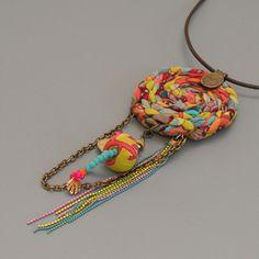 Long Greyl statement necklace. Pendant Necklace –Dream catcher Statement…