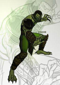 Reptile, from Mortal Kombat. Taking his classic ninja look and merging it with his reptilian look from Reptile Reptile Mortal Kombat, Mortal Kombat 2, Dojo, Reptiles, Kung Jin, Game Character, Character Design, Minions, Mortal Kombat X Wallpapers