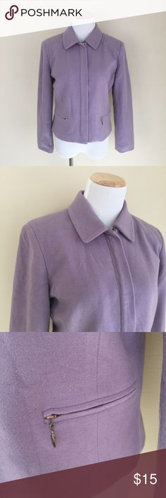 """Petite Sophisticate lavender zip-front jacket 6P Petite Sophisticate lavender zip-front jacket, size 6P. Wool-blend, covered zip placket, zip front pockets, contoured shape. Condition:  very good pre-loved. Flaws:  right front pocket is missing zipper hang tab (zipper is functional), a few very faint tiny brown dots on shoulders (photo 8). Material:  shell 80% wool/20% nylon, lining 100% polyester. Measurements (approximate, taken flat):  length from shoulder 19.5"""", pit-to-pit 19.5"""", flat…"""