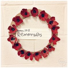 A Pinch of Kinder: Remembrance Day Activities for Kindergarten - Poppy Wreath made from Egg Cartons for our Remembrance Day Assembly Full Day Kindergarten, Kindergarten Activities, Preschool Activities, Remembrance Day Activities, Remembrance Day Poppy, Poppy Wreath, Remember Day, Anzac Day, Autumn Crafts