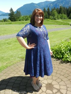 DivineMrsDiva.com - Kiyonna Sweet Leah Lace Dress, Avenue Peep Toe Flats, Lane Bryant Silver Link Necklace