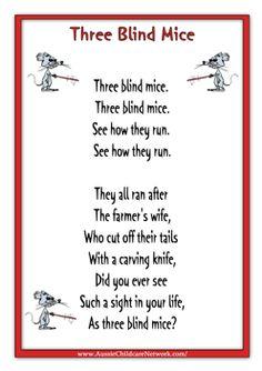 Three Blind Mice Rhyme Worksheets