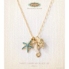 """Spartina449 Three Charm Necklace 18"""" {capture the charm of the sea}"""