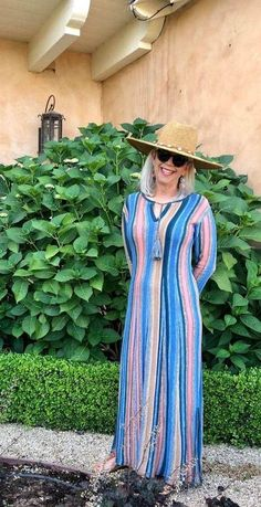 Over 50 Fashion Blogger cindy hattersley in peruvian connection caftan and peruvian connectin cowry shell hat